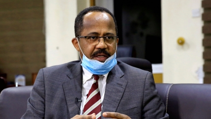 Sudan's Minister of Health Akram Ali Altom speaks during a Reuters interview amid concerns about the spread of coronavirus disease (COVID-19), in Khartoum, Sudan, April 11, 2020.