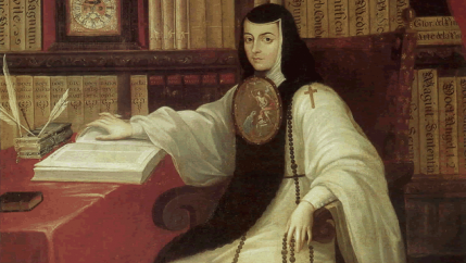 A portrait of a nun writing