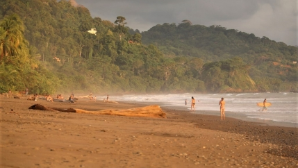 A view of a beach with some surfers