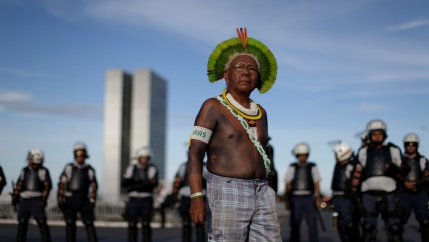 Indigenous leader Paulinho Paiakan takes part in an Occupy Funai protest that will shut down Funai offices throughout Brazil in Brasilia, July 13, 2016.