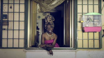 A screenshot from Liberian Italian artist Karima 2G's 2014 music video,