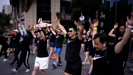 Participants take part in a Pride Run during the Shanghai Pride festival, in Shanghai, following the coronavirus disease (COVID-19) outbreak, China, June 14, 2020.
