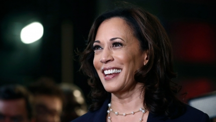 A close-up photograph of Sen. Kamala Harris shown smiling.
