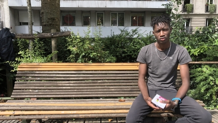 Gandega Bakary, 16, who is originally from Mali, has been living on the street in France, even amid the coronavirus lockdown.