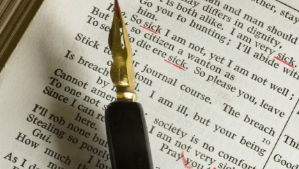 A fountain pen underlining key words in text.