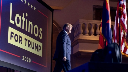 President Donald Trump arrives for a Latinos for Trump Coalition roundtable at Arizona Grand Resort & Spa, Monday, Sept. 14, 2020, in Phoenix.