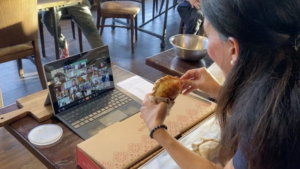 Lorena Cantarovici, CEO of Maria Empanada, has begun teaching empanada-making classes via Zoom to help keep her business solvent during the pandemic.