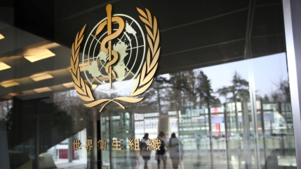 A logo is pictured outside a building of the World Health Organization (WHO) during an executive board meeting for updates on the coronavirus outbreak, in Geneva, Switzerland, Feb. 6, 2020.