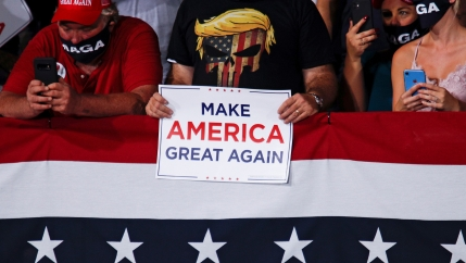 People attend a campaign rally by US President Donald Trump at Cecil Airport in Jacksonville, Florida, Sept. 24, 2020.