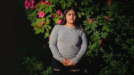 Michelle Aguilar Ramirez stands for a portrait in South Seattle, Washington, May 18, 2020.