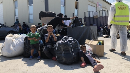 Since the fire that engulfed Moria camp on Lesbos island nearly two weeks ago, more than 500 of the 12,000 displaced migrants and refugees have been taking shelter at a center run by Team Humanity, a nonprofit humanitarian organization.