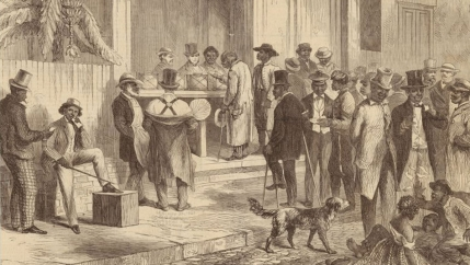 Freedmen voting in New Orleans in 1867.