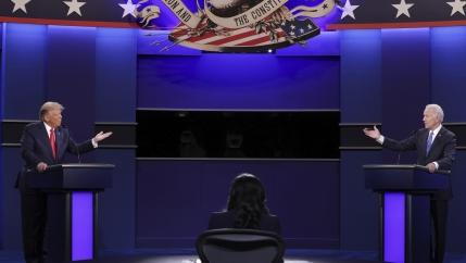 President Donald Trump and Democratic presidential candidate former Vice President Joe Biden participate in the final presidential debate at Belmont University, Oct. 22, 2020, in Nashville, Tenn.