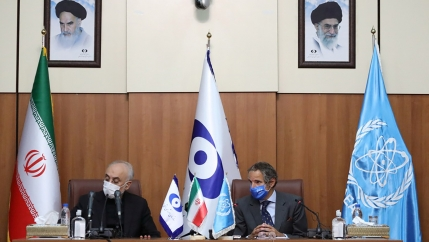 Head of Iran's Atomic Energy Organization Ali-Akbar Salehi and International Atomic Energy Agency (IAEA) Director General Rafael Grossi attend a press conference in Tehran, Iran, Aug. 25, 2020.