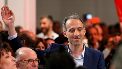 Raphaël Glucksmann, leader of the opposition Parti Socialiste (Socialist Party) and Place Publique (Public Place) list for the European parliament elections, attends a rally in Lyon, France, May 16, 2019.