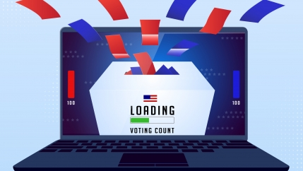 An illustration of a ballot box with a loading bar for