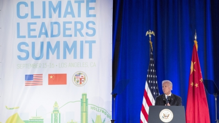 In this file photo, then-Vice President Joe Biden speaks at the closing session of the US-China Climate Leaders Summit in Los Angeles, California, Sept. 16, 2015.