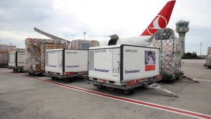 Active temperature control containers carrying China's Sinovac experimental COVID-19 vaccines are loaded onto a Turkish Cargo plane at Ataturk airport before departing to Brazil, in Istanbul, Turkey, Nov. 18, 2020.