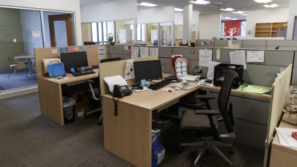 Empty office desks in a building in DC