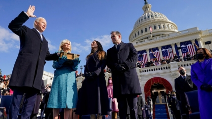 Joe Biden is sworn in as the 46th president of the United States by Chief Justice John Roberts as Jill Biden holds the Bible during the 59th Presidential Inauguration at the US Capitol in Washington, Jan. 20, 2021.