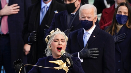 Lady Gaga performs the national anthem during the 59th presidential inauguration at the US Capitol in Washington, Jan. 20, 2021.