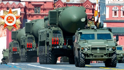 In this file photo taken on Wed. June 24, 2020, Russian RS-24 Yars ballistic missiles roll in Red Square during the Victory Day military parade marking the 75th anniversary of the Nazi defeat in Moscow, Russia.