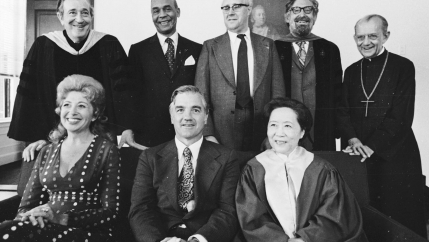 Chien Shiung Wu (bottom, right), then-professor of Columbia University New York, receives an honorary degree along with other recipients at Harvard University on June 14, 1974, in Cambridge, Massachusetts.