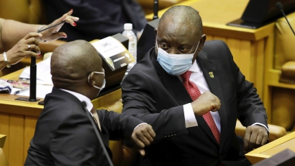 South African President Cyril Ramaphosa delivers his fifth State of the Nation Address to a restricted parliament in Cape Town, South Africa, Thursday, Feb. 11, 2021.