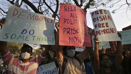 Protesters demand the release of Indian climate activist Disha Ravi