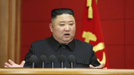 In this photo provided by the North Korean government, Kim Jong-un speaks in a conference with chief secretaries of the city and county party committees in Pyongyang, North Korea, Saturday, March 6, 2020.