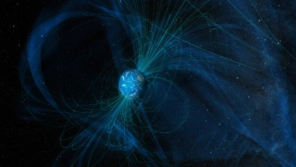 An illustration of blue and black magnetic field lines that Earth generates today.