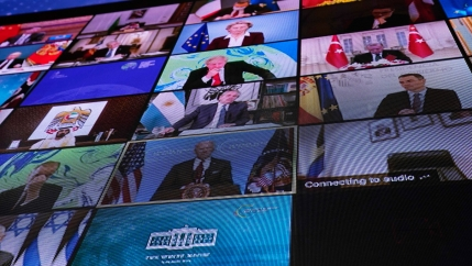 A screen is shown depicting several world leaders, each individually in their own screen-in-screen view.