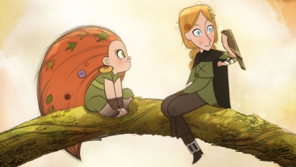 Animation of girl with blonde hair holding a bird and girl with orange hair watching, while sitting on a tree branch