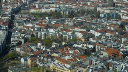 Apartment buildings in the Mitte borough of Berlin were photographed from the capital's television tower, April 4, 2019.