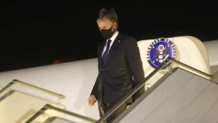 US Secretary of State Antony Blinken disembarks after landing at Boryspil International airport outside Kyiv, Ukraine, early Thursday, May 6, 2021.