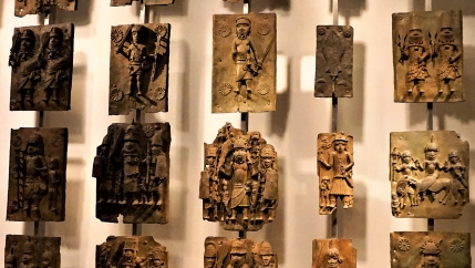 Benin Bronzes on exhibit at the British Museum.