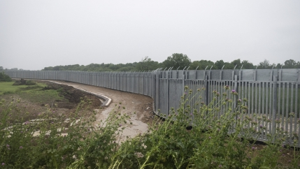 A view of a steel wall at Evros river, near the village of Poros, at the Greek-Turkish border, Greece, Friday, May 21, 2021.