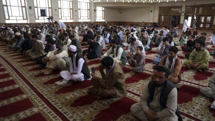 Muslims offer Eid al-Adha prayers in Kabul, Afghanistan,July 20, 2021. Eid al-Adha, or