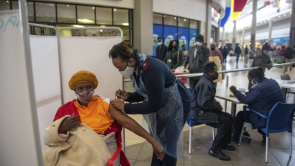A patient receives a Johnson & Johnson vaccine against COVID-19 in Hammanskraal, South Africa,July 6, 2021.