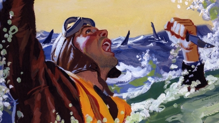 A painting for the U.S. Army's Stars and Stripes newspaper shows a downed pilot fending off sharks with a knife.