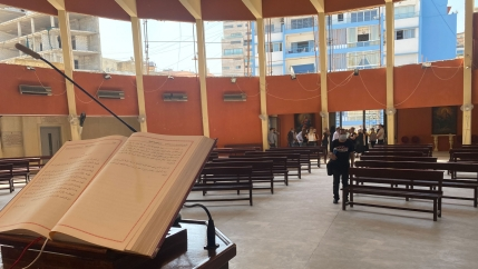 In a church about a mile from Beirut's port, Sunday mass occurs with just a few dozen worshipers in the massive hall.