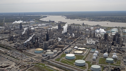 The Shell Norco oil refinery along the Mississippi River in Norco, LA.