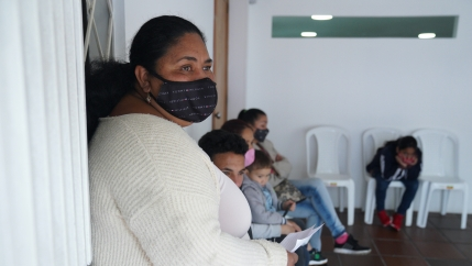Iselle Toledo waits for a medical appointment at Juntos Se Puede an organization that helps Venezuelan migrants inBogotá, Colombia.