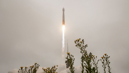 A United Launch Alliance Atlas V rocket carrying the Landsat 9 satellite onboard launches from Vandenberg Space Force Base, California, on Monday, Sept. 27, 2021.