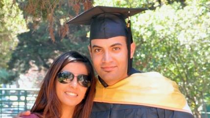 Abdulrahman al-Sadhan poses with his sister Areej Al Sadhan