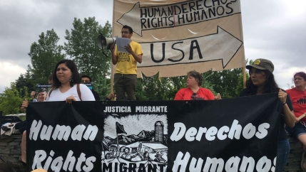 Dozens of people turned out at a rally in Newport in June of 2019 to protest the detention of three migrant farmworkers there