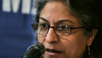 Asma Jahangir speaks during a news conference in Islamabad