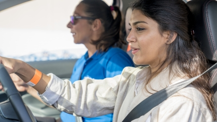Students at the all-female Effat University in Jeddah, Saudi Arabia participate in a driving skills workshop run by Ford.