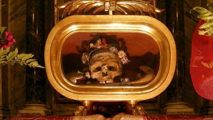 Relics of St. Valentine of Terni at the basilica of Saint Mary in Cosmedin.