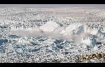 A calving glacier off Greenland